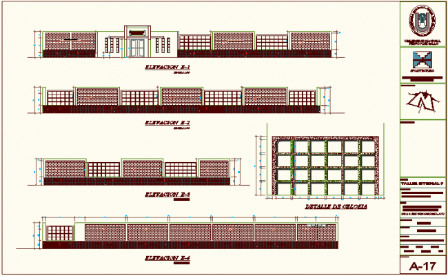 Elevation of education building dwg file