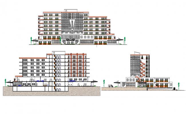 Elevation of general hospital plan detail dwg file.