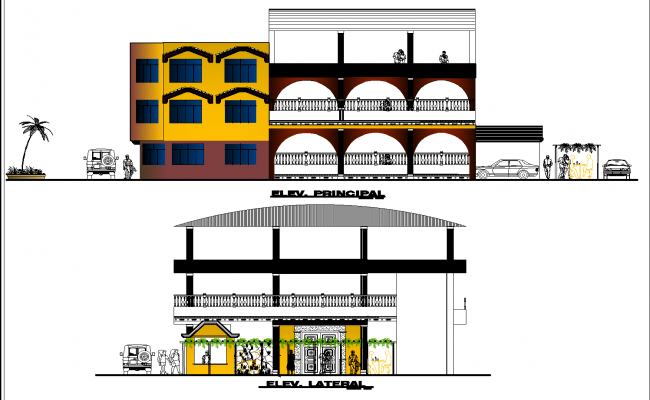 Elevation of housing project plan detail dwg file,