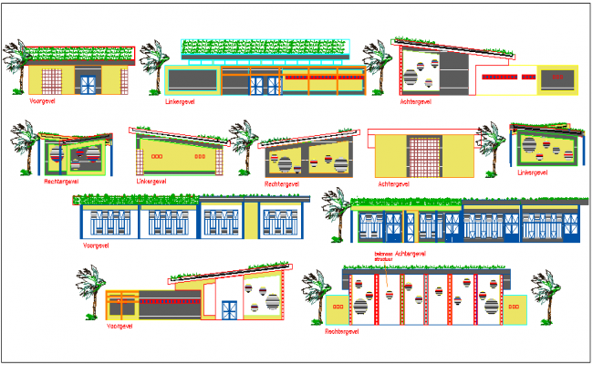 Elevation of multi functional building dwg file
