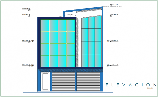 Elevation of office area with floor level view dwg file