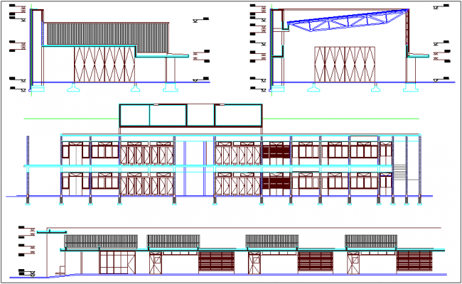Elevation of school dwg file