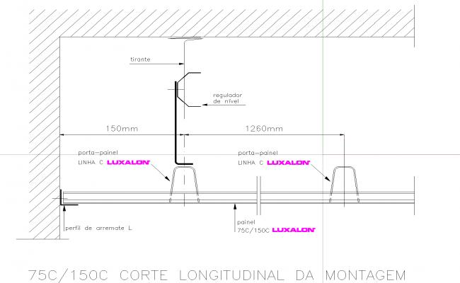 Elevation of suspended metal ceiling plan detail dwg file.
