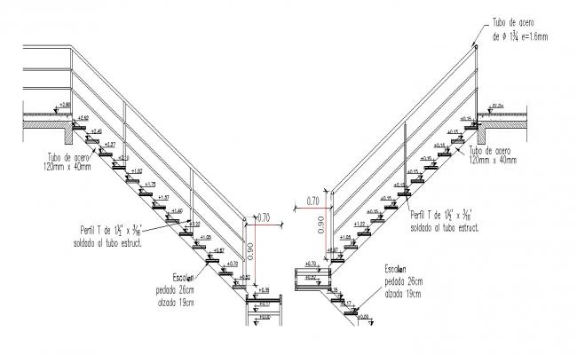 Elevation of the staircase in dwg file