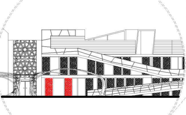 Elevation of turkey research center dwg file