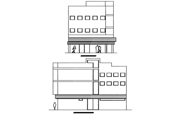 Elevation office building plan detail dwg file