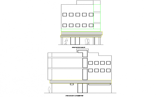 Elevation office plan detail dwg file