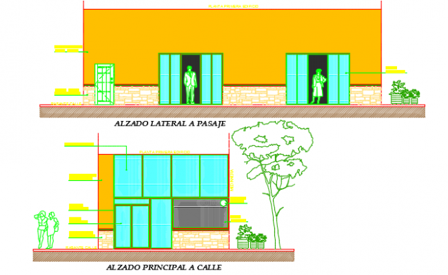 Elevation pizzeria detail dwg file