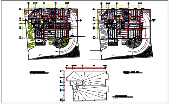 Elevation plan and section plan detail dwg file