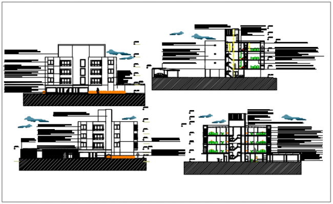 Elevation plan detail dwg file