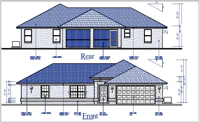Elevation plan of details dwg file
