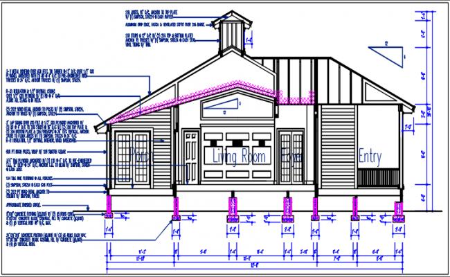 Elevation plan view detail dwg file