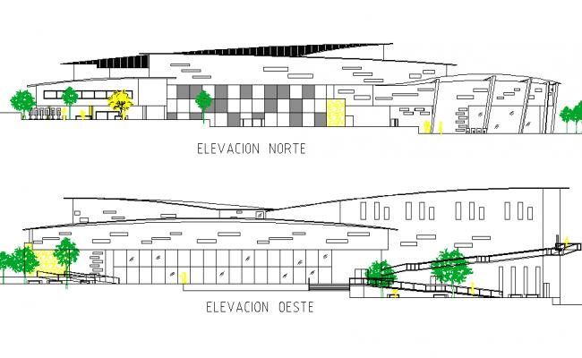 Elevation project plenary plan detail dwg file