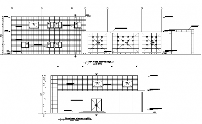 Elevation registration offices plan detail dwg file