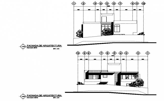 Elevation Residence House Plan Detail Dwg File