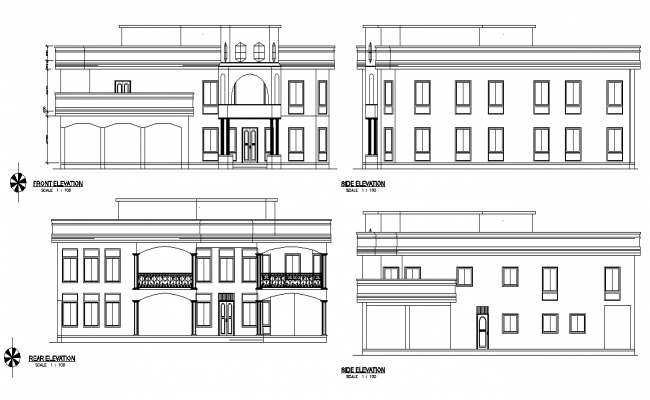 Elevation residential house plan detail dwg file