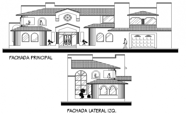 Elevation several facilities family layout file