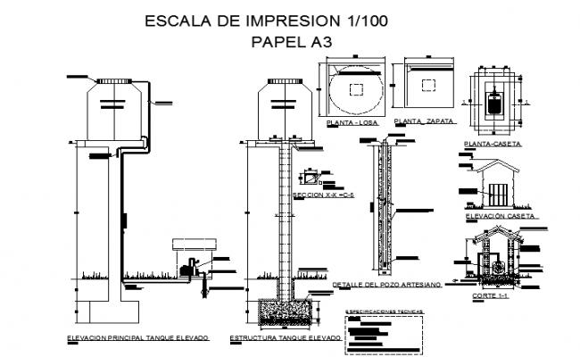 Elevation tank sectional details dwg file