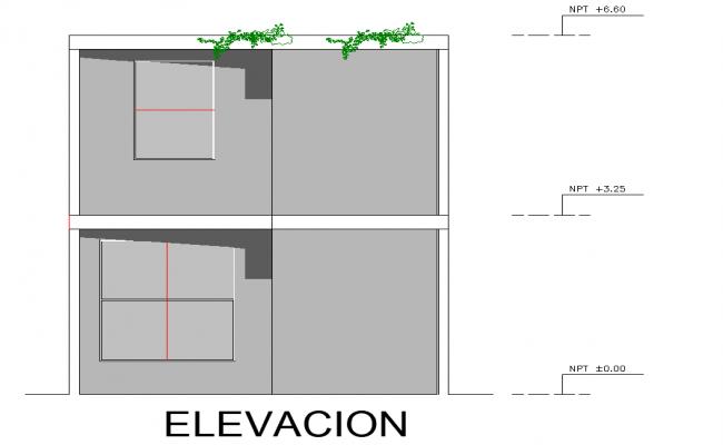 Elevation unifamily housing detail dwg file