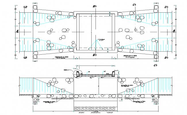 Elevation vehicular bridge plan autocad file