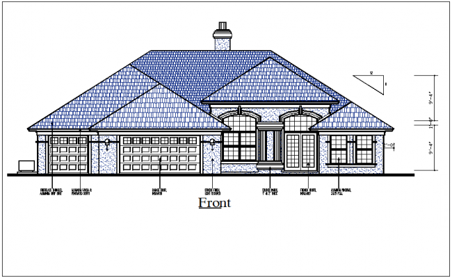 Elevation view detail of house dwg file