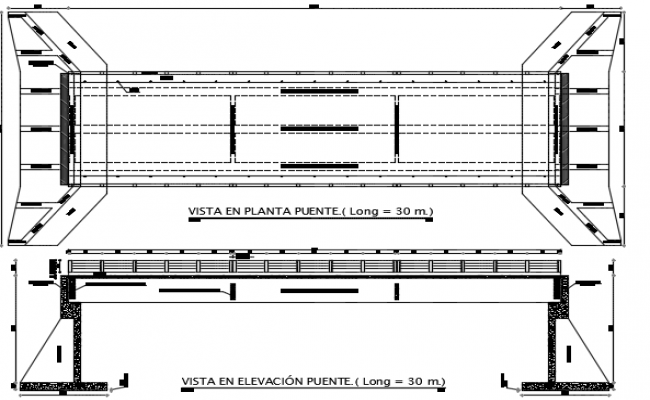 Elevation view of bridge detail dwg file