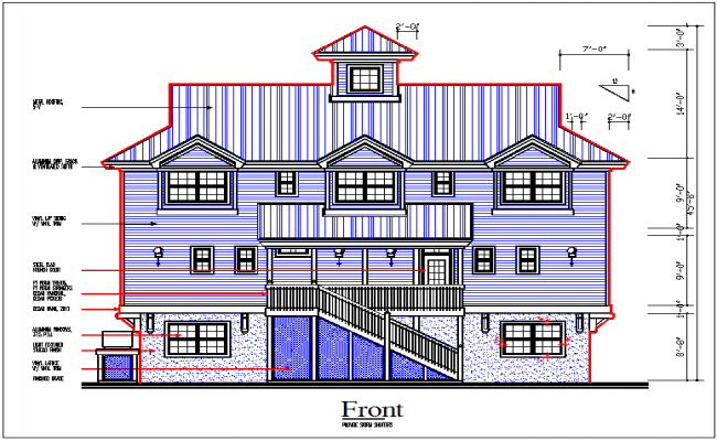Elevation view of bungalow view detail dwg file