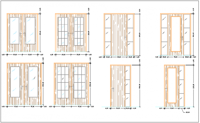Elevation view of door with dimension