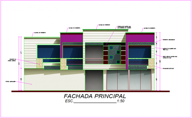 Elevation view of housing area with architectural view dwg file