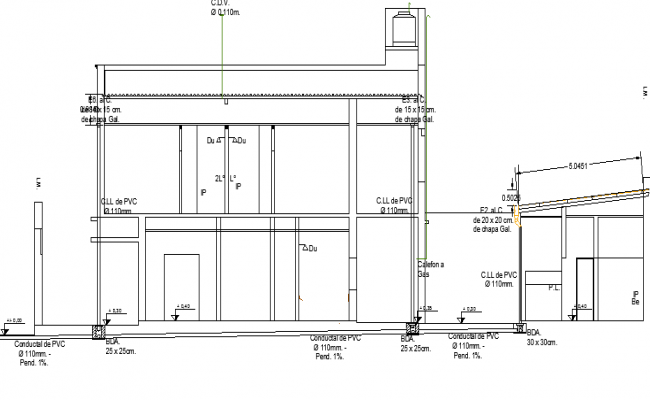 Elevation And Plan Difference : Elevation view of installation gas water sewer building