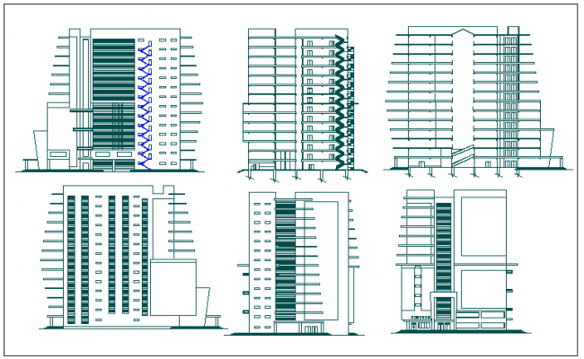 Elevation view of office building dwg file