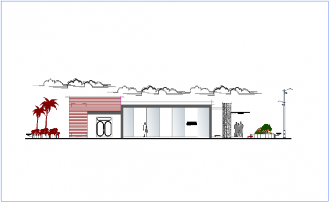 Elevation view of office dwg file