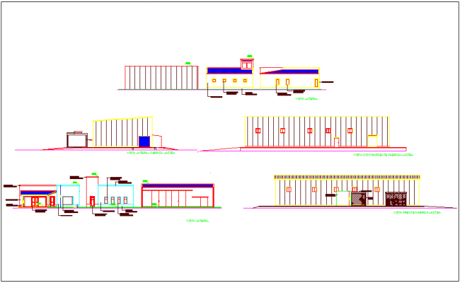 Elevation view with different axis of dairy plant dwg file