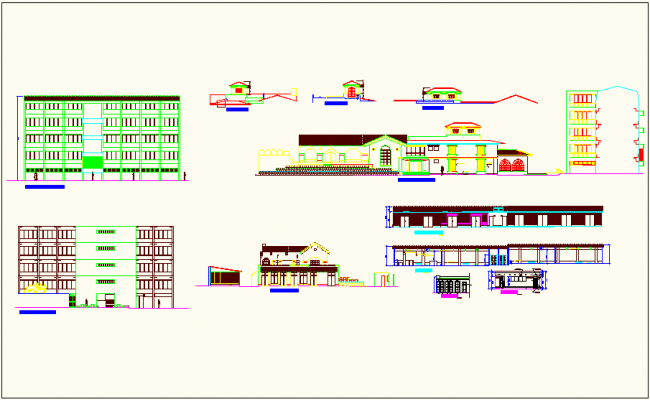 Elevation view with different elevation detail of university building dwg file