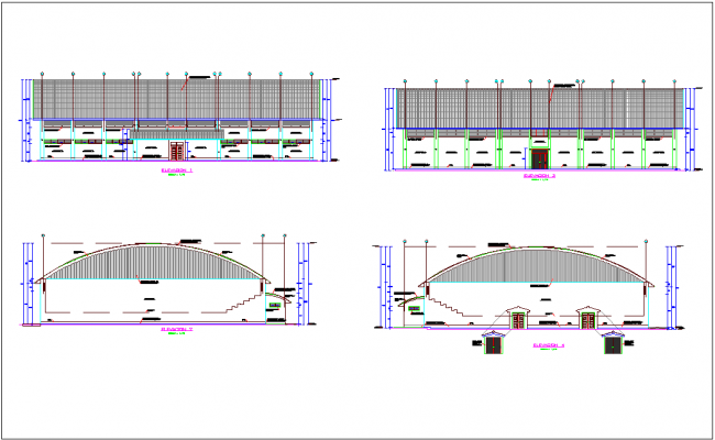 Elevation with different axis  view for Coliseum building dwg file