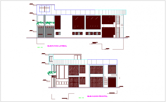 Elevation with different axis  view for commercial building dwg file