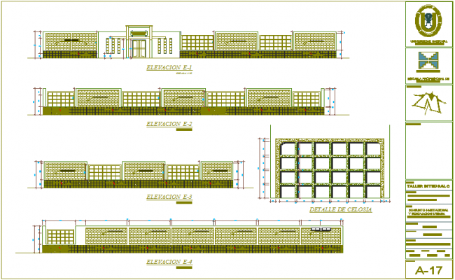 Elevation with different axis  view for education building for child dwg file