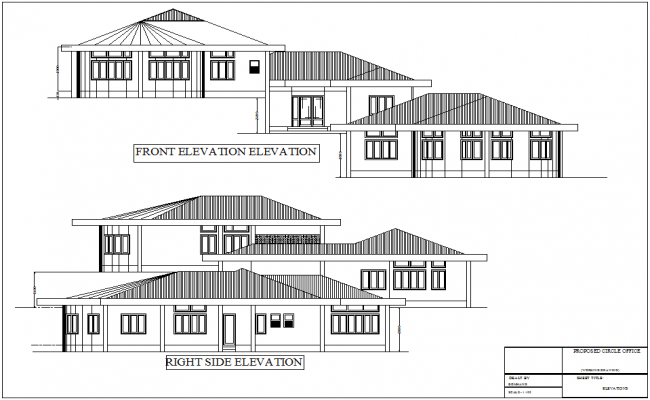 Elevation with different axis  view for engineer building for government dwg file