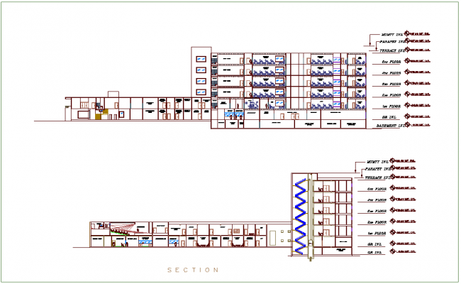 Elevation with different axis  view for hospital building dwg file