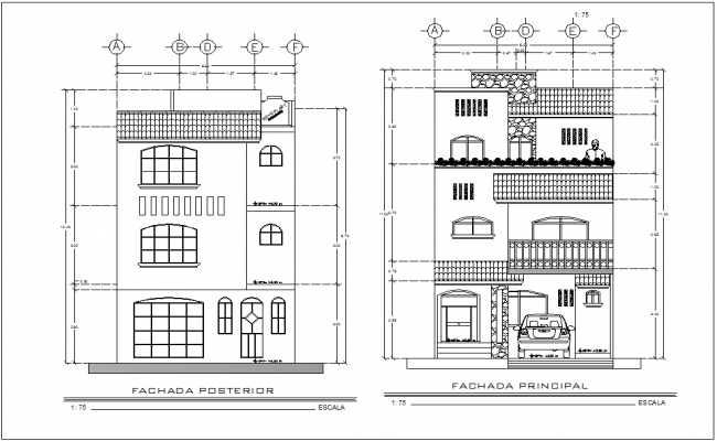 Elevation with different axis  view for residence building dwg file