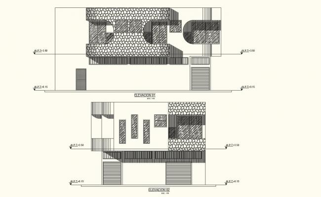 Elevation with different axis  view for residential building  dwg file