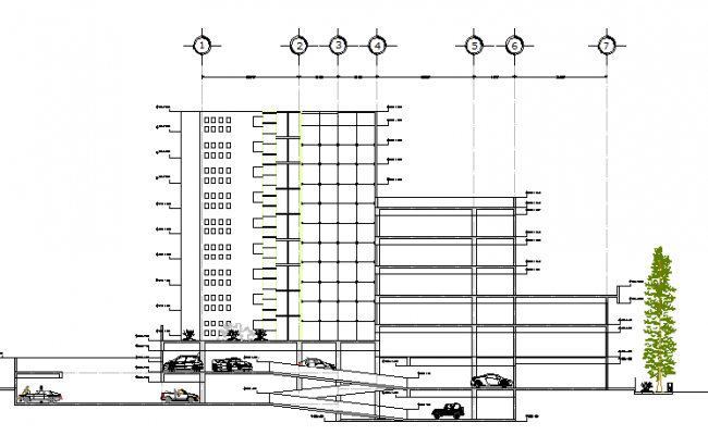 elevation with lateral section of parking  commercial