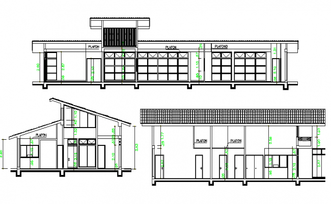 Elevation with side sectional view of corporate office dwg file