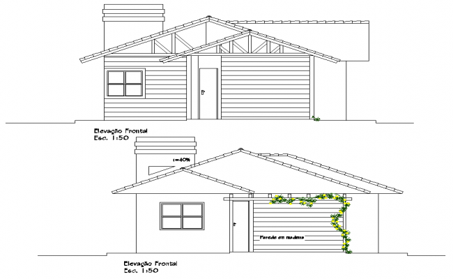 Elevation wooden house residence plan dwg file
