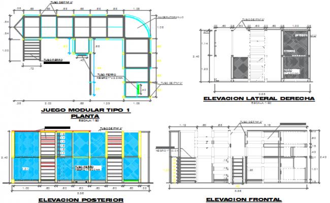 Elevation working plan detail dwg file