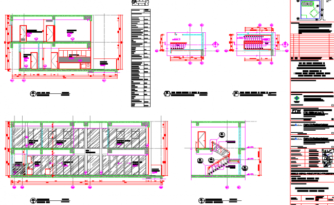 Elevations and stairway details of a penthouse