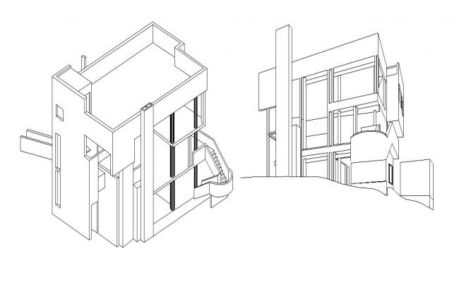 House Front Elevation In DWG File