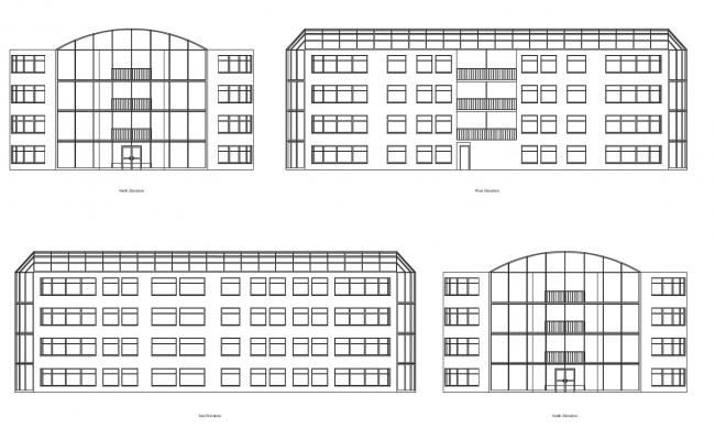 Elevations of apartment building in dwg file