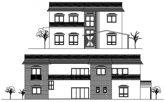 Elevations of bunglow in dwg file