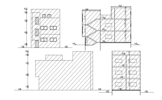 Elevations and sections Of Three Story Building Design DWG File